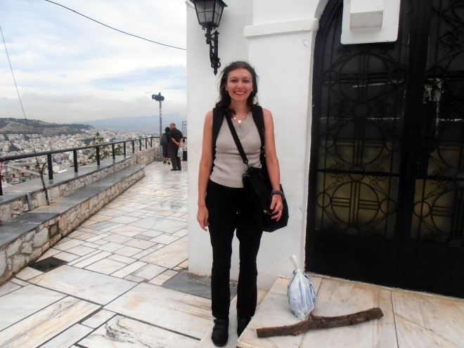 Here I am after climbing to the top of Lykovittos Hill, Athens