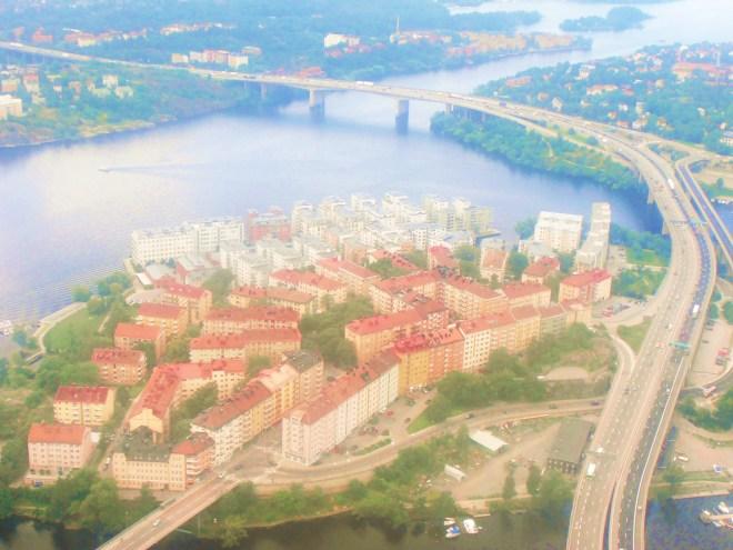 Flying over suburban Stockholm, Sweden
