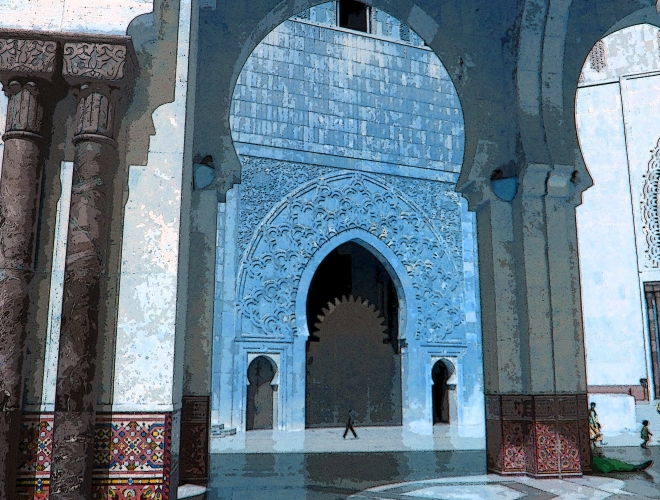The courtyard of Hassan II Mosque