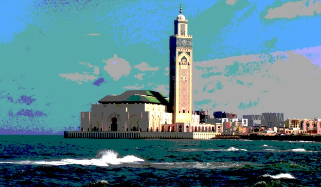 Another view of the gorgeous mosque, right on the shores of the Atlantic
