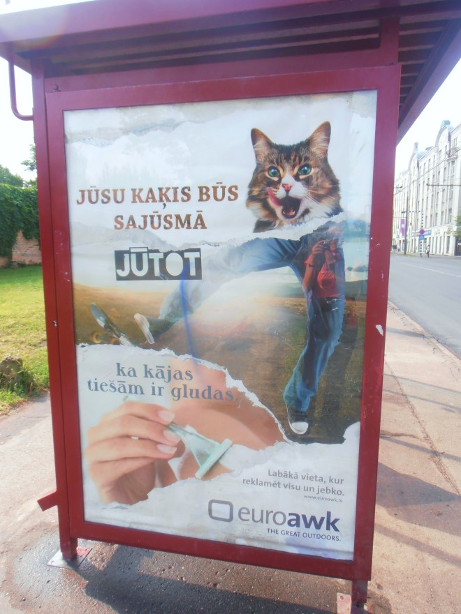 It appears that after 23 years without Communism, the Latvians still haven't quite figured out how to put together an effective advertisement
