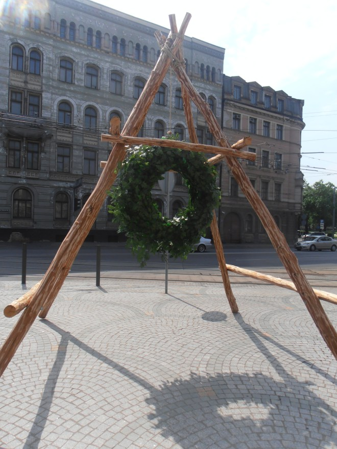 One of many summer solstice decorations found around Riga, Latvia in June