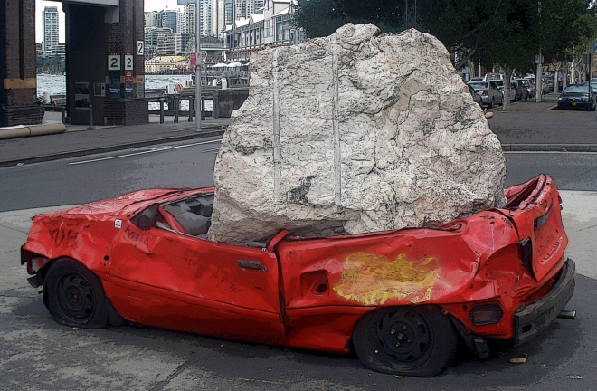 Don't worry -- the chances of a boulder falling on your car in Sydney, Australia are slim to none!