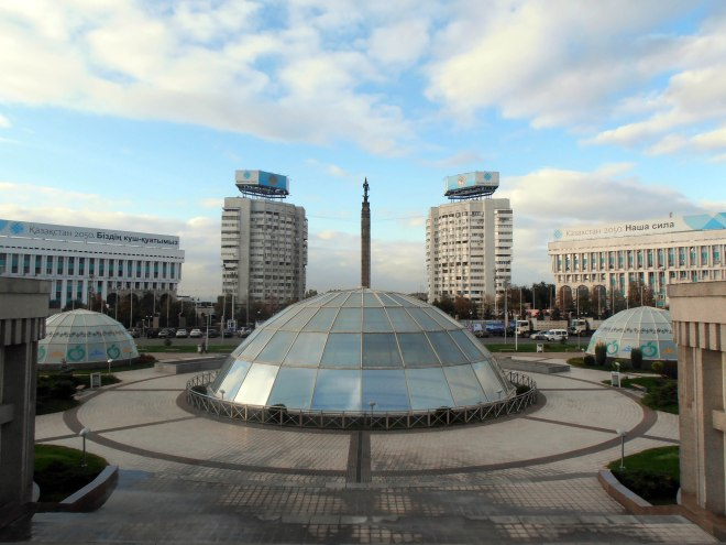 Almaty, Kazakhstan's more cosmopolitan city, is a site of domes, white buildings, and pretty blue skies.